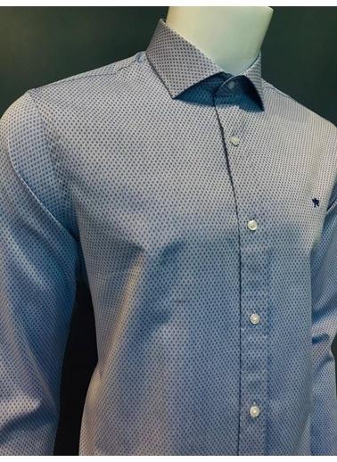 Abbate Italyan Yaka Armürlü Slımfıt Gömlek Mavi